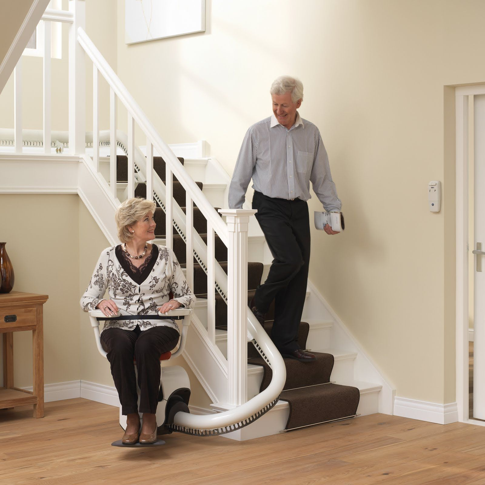 The Flow 2 Can Tackle Even The Narrowest Stairs And The Chair Folds Up To Take Just 330mm Stair Lifts Stair Lift Stairs
