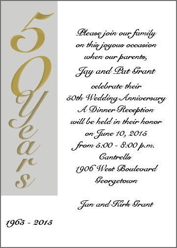 Anniversary Invitations 50th Use An Rsvp Card For Date Of Response