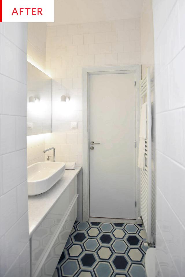Hexagon Bathroom Floor Tiles Remodel Before