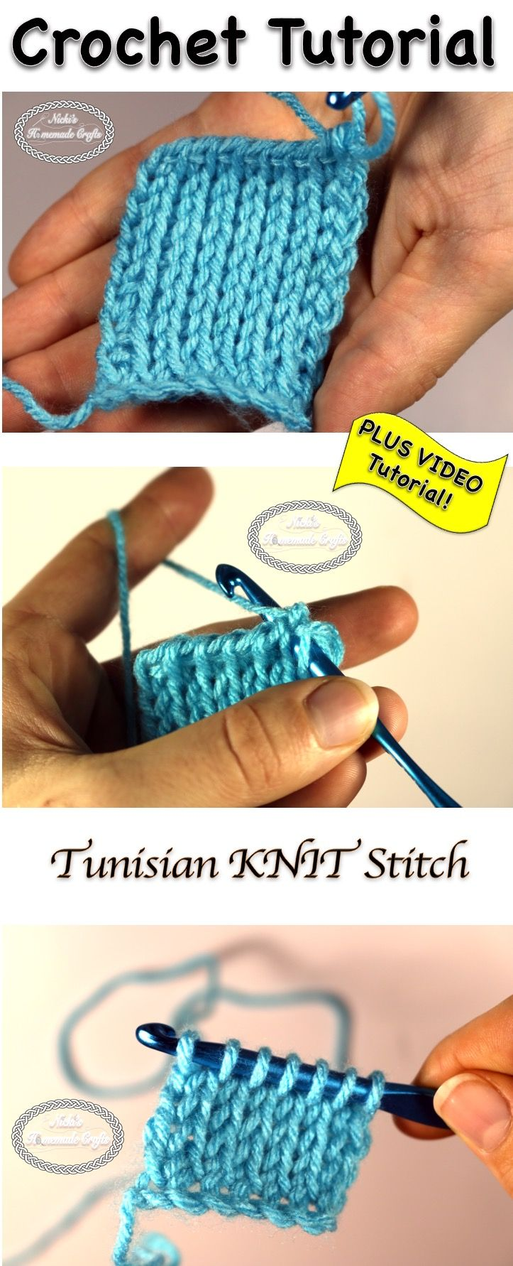 Tutorial: Tunisian KNIT Stitch - Crochet Stitch Tutorial | Tunesisch ...