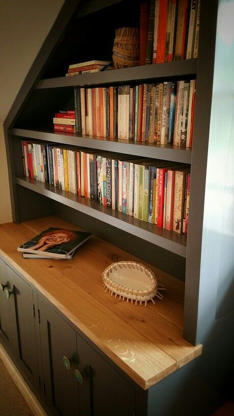 Bench seat and bookcase combo. Painted cabinets with Euro Oak tops ...