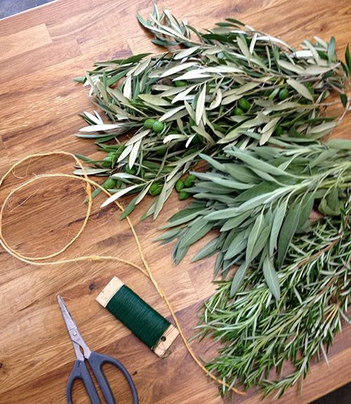 Make a Herb and Olive-Leaf Table Garland