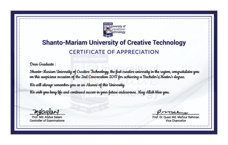 Certificate of Appreciation, Design in 2nd Convocation 2017 of - copy certificate of appreciation for teachers