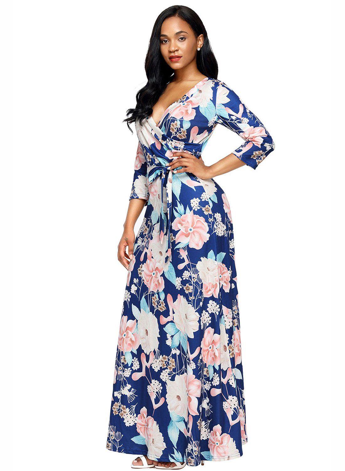 Womens casual floral maxi dress long sleeveswrap v neck boho