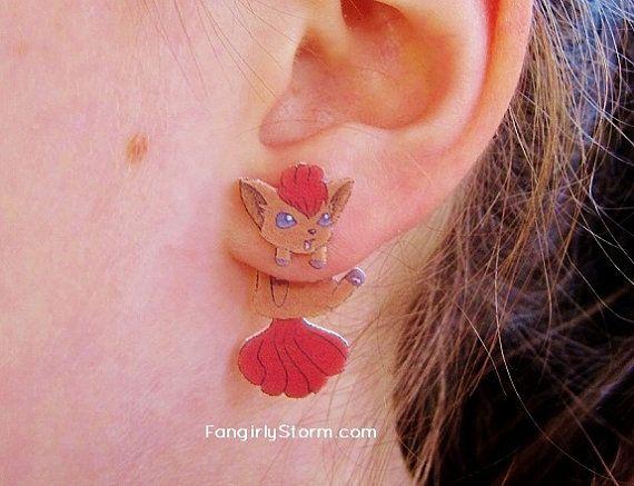 Vulpix Pokemon Clinging earrings Handmade kawaii gamer two part front and back post earrings