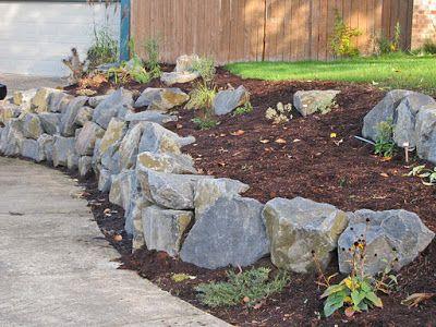 Retaining Walls Before And After Boulder Retaining Wall Basalt Rock Rock Garden