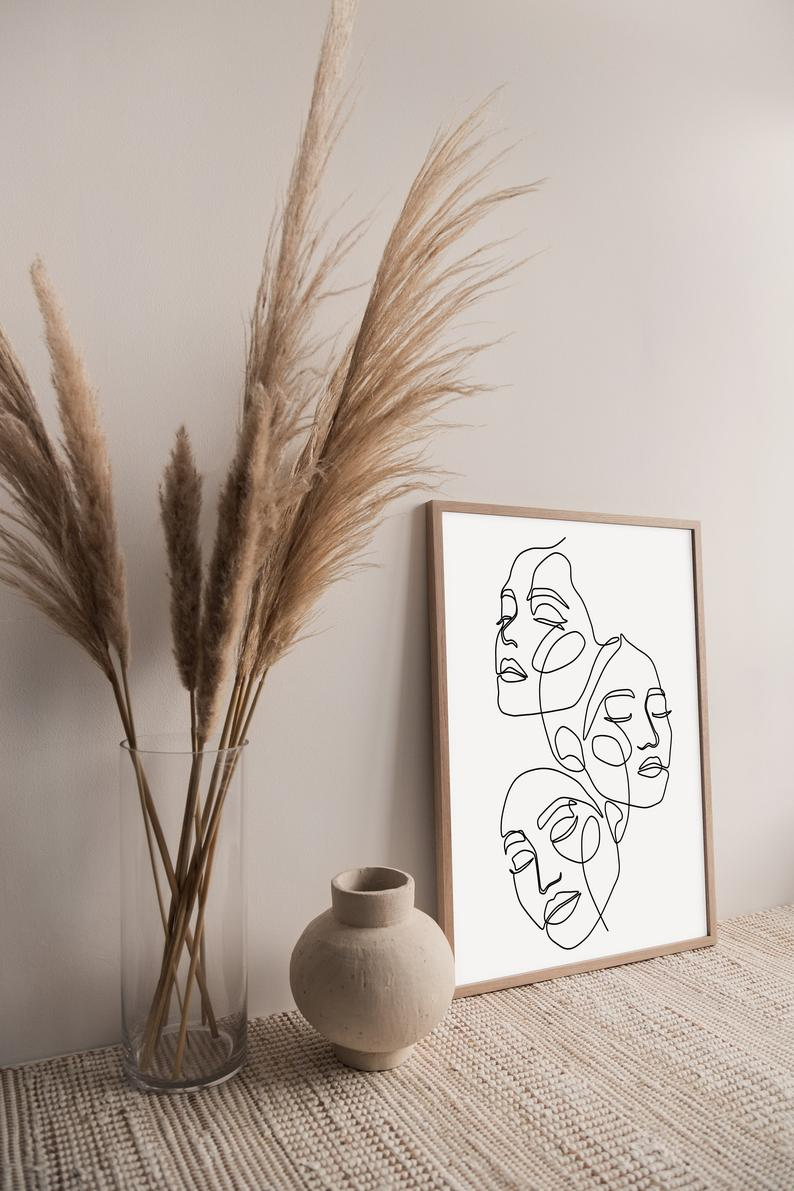 Feminist Art, Abstract Face Print, One Line Poster