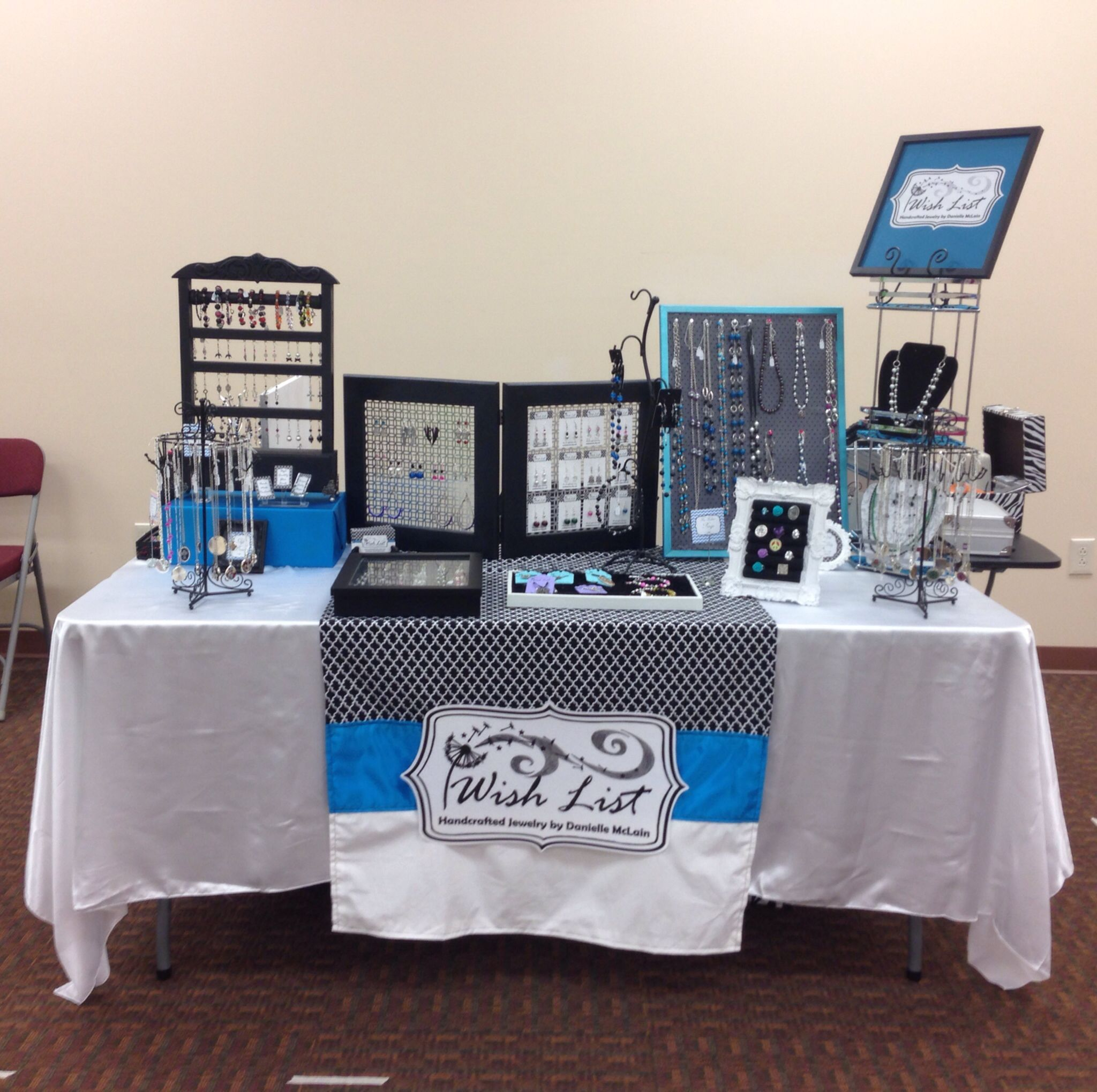 My handmade jewelry booth display craft show table for Table top display ideas