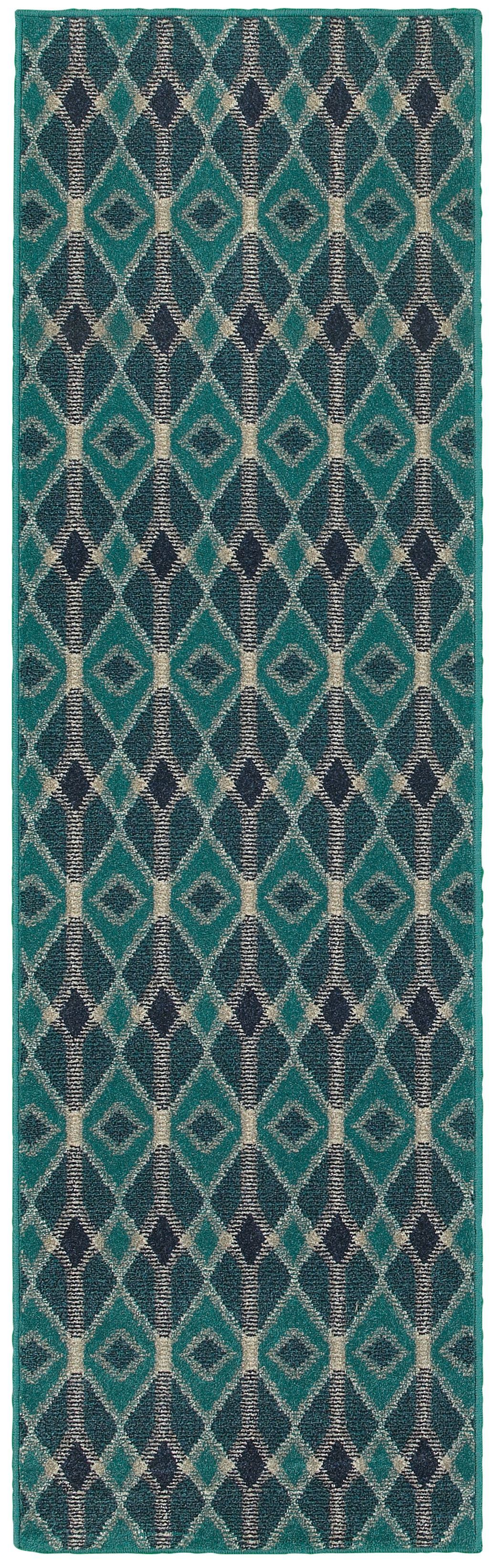 Oriental Weavers Highlands 6627B Blue/Teal Geometric Area Rug