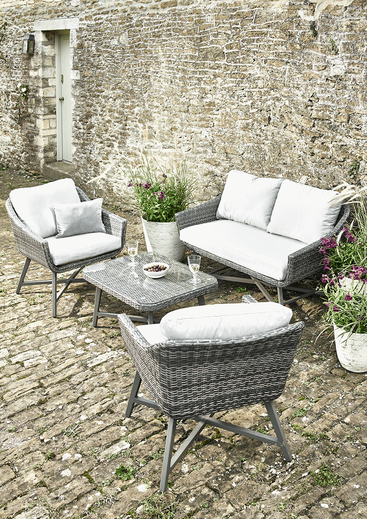 From Kettler S Wicker Garden Furniture Range Ona Awhoite Background - New capri lounge set waterproof wicker aluminium sofa 2 chairs coffee