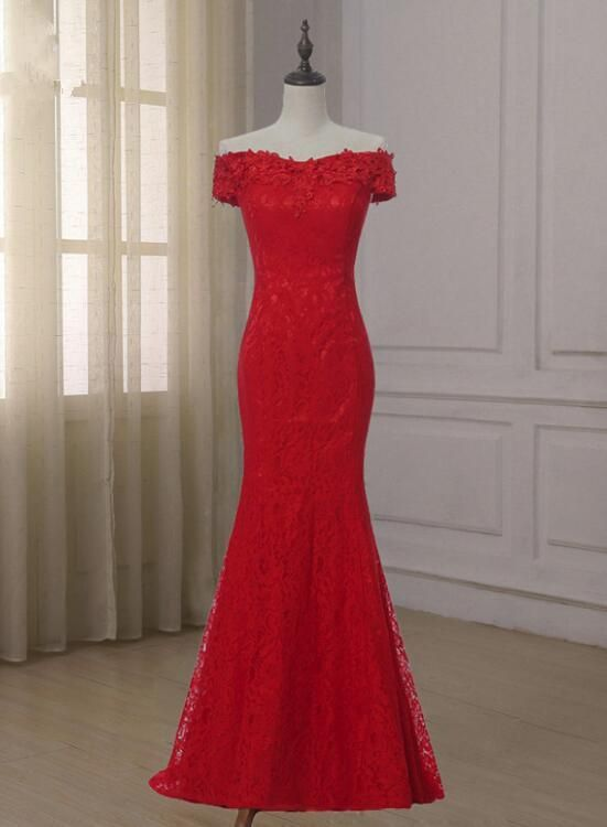 Red Lace Mermaid Off Shoulder Evening Gown, Red Lace Party Dress, Wedding Party Dress - Red evening gowns, Short red prom dresses, Off shoulder evening gown, Evening gowns, Lace party dresses, Red frock - color, Rush Order is available, and no extra cost   Custom M