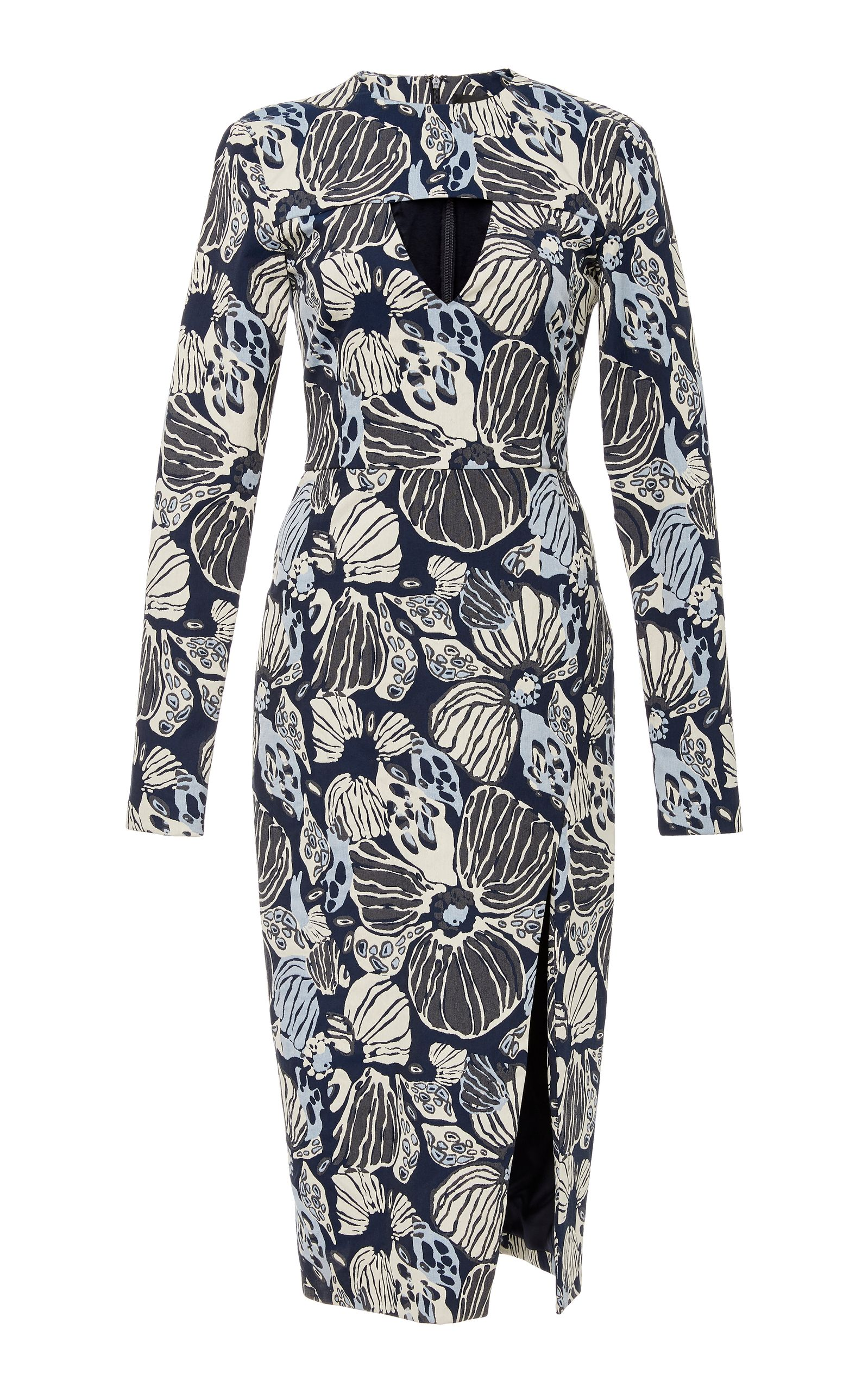 Floral print long sleeve cut out dress christian siriano