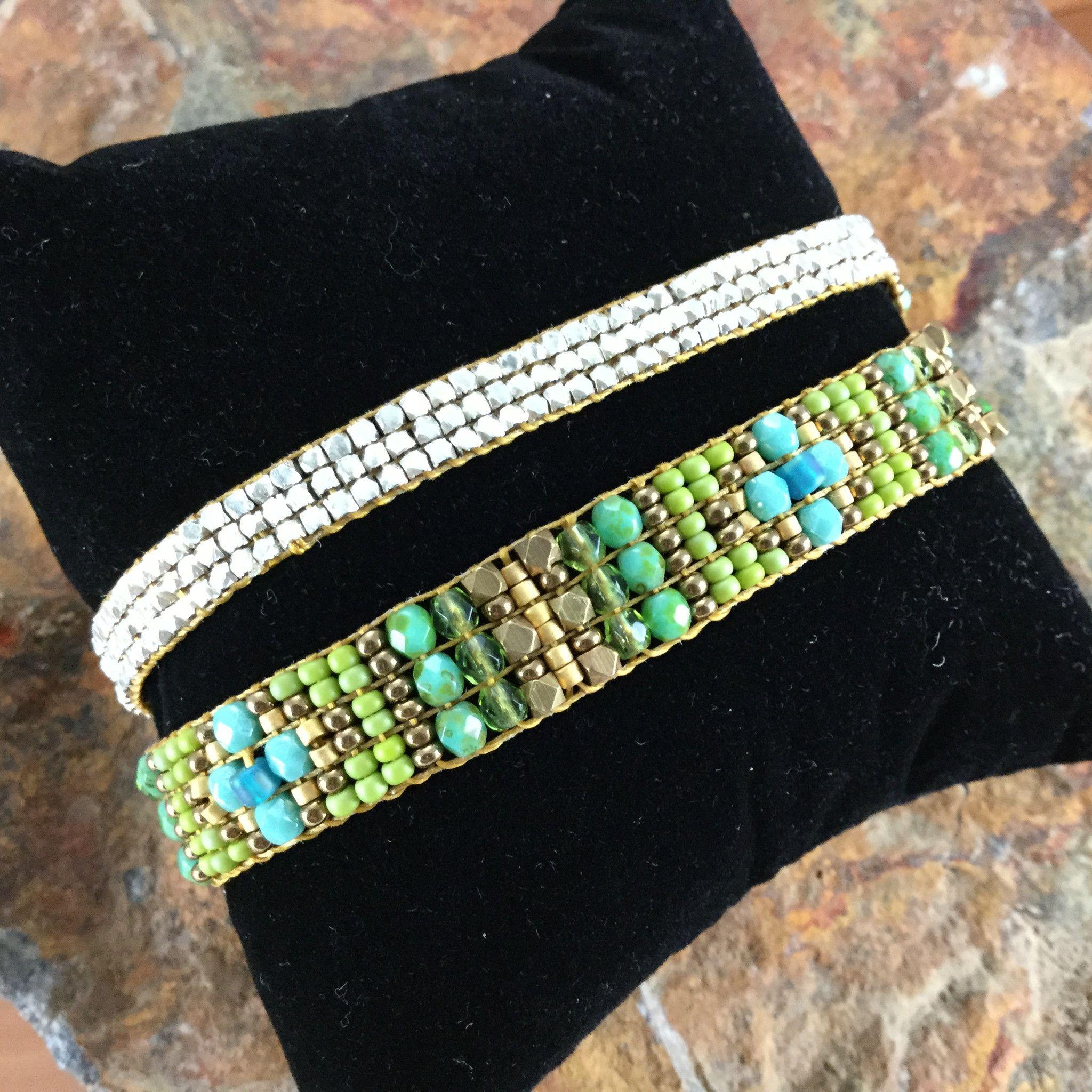 Silver Amp Green Woven Beaded Double Bracelet Chili Rose
