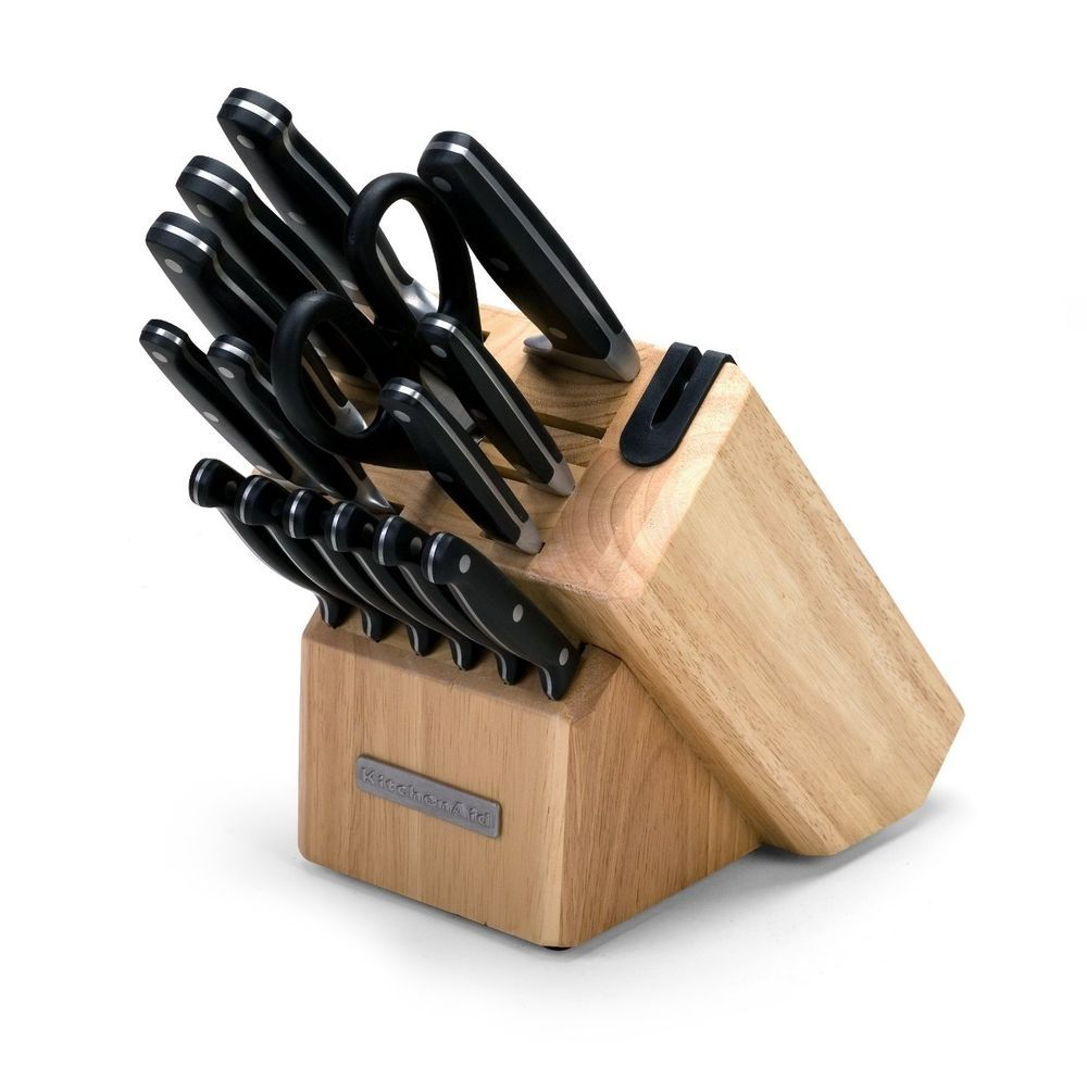 KitchenAid 16-Piece Triple Riveted Cutlery Block Set with ...