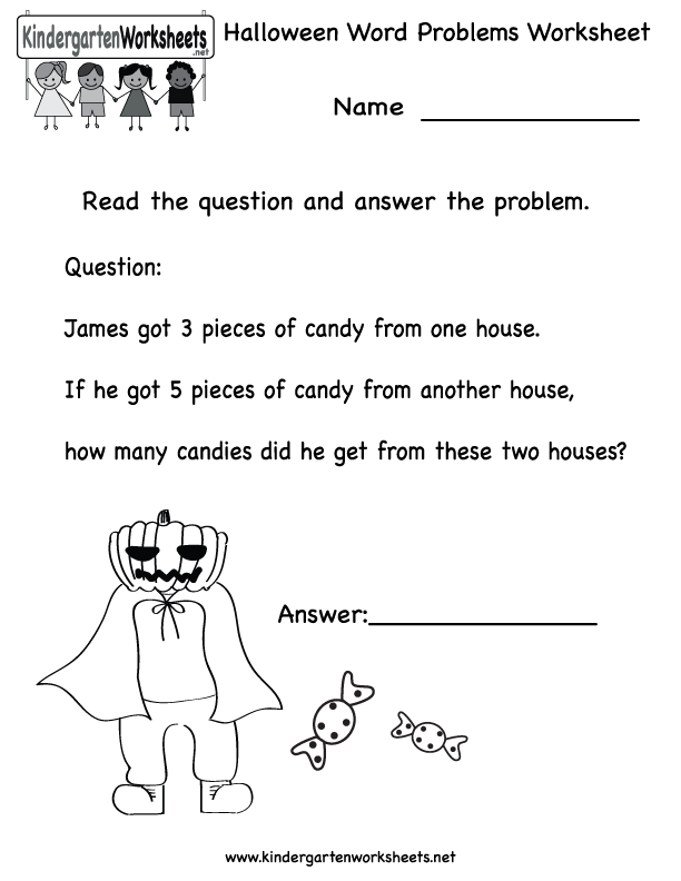 kindergarten halloween word problems worksheet printable worksheets legacy pinterest. Black Bedroom Furniture Sets. Home Design Ideas