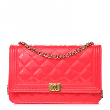 Chanel Patent Calfskin Quilted Boy Wallet On Chain Woc Pink