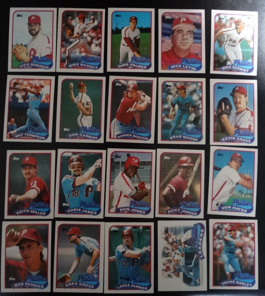 1989 topps philadelphia phillies team set of 28 baseball