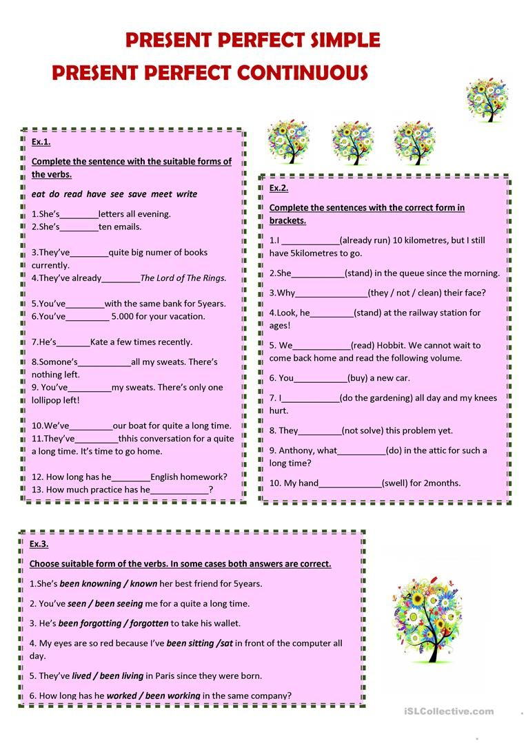 Present Perfect Simple And Continuous Worksheet Free Esl Printable Worksheets Made By Teachers Present Perfect English Teaching Materials Continuity