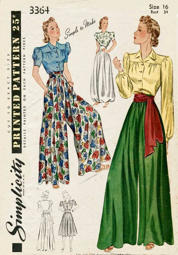 825af9c9438 1930s 1940s Simplicity 3364 vintage sewing pattern palazzo pants wide leg  trousers lounge blouse sash belt
