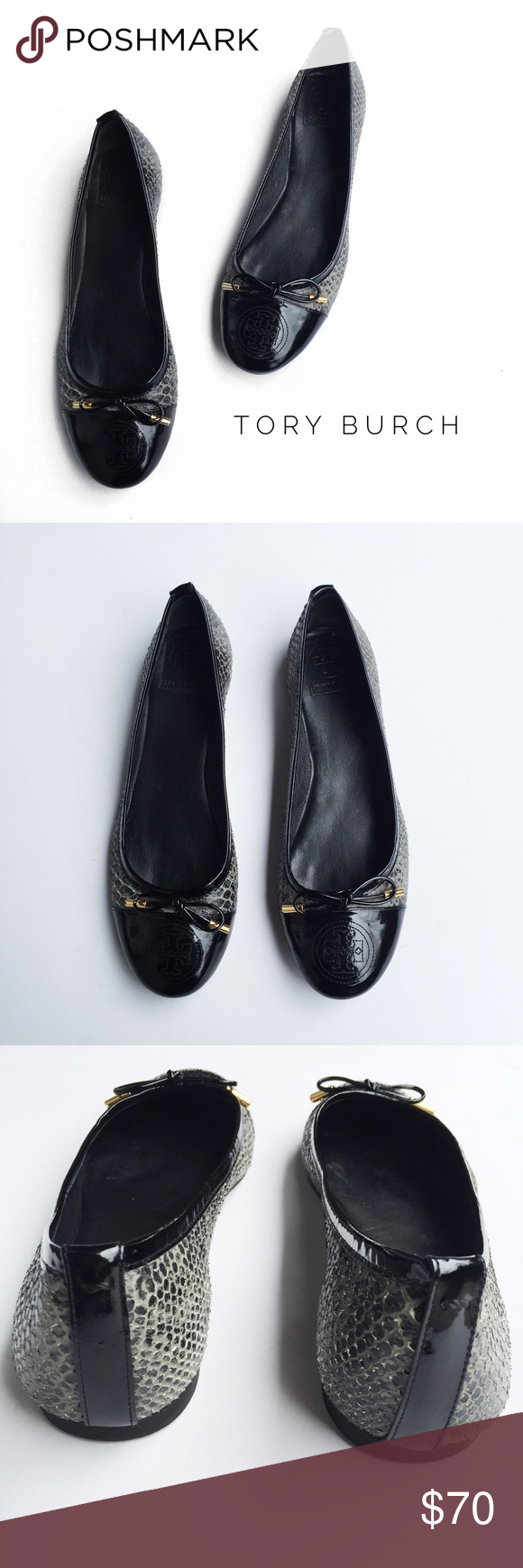 • tory burch snake skin flats • condition: pre-owned. these are in great condition with very minor wear. exterior is in great condition with minor scuffing to right toe as shown in picture 7. interior has minor wear as shown in picture 6. Tory Burch Shoes Flats & Loafers