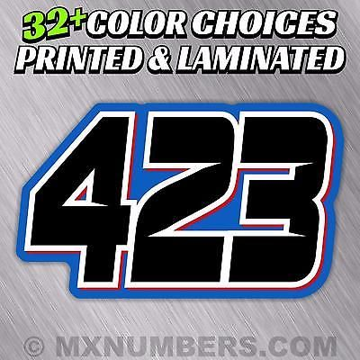 3 x Race Numbers Custom Motocross MX Dirt Bike Pit Bike Decals Any Colour 3