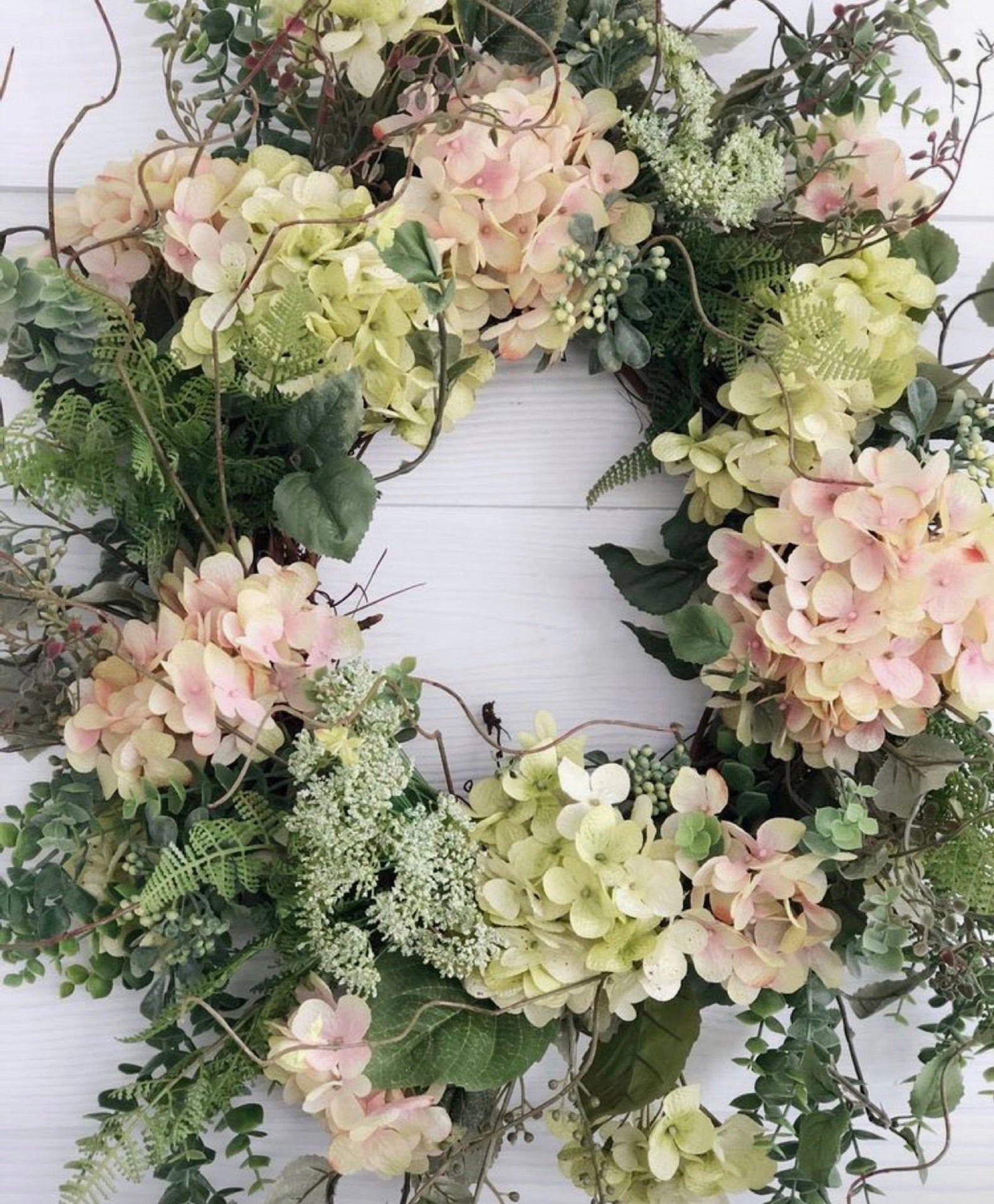 Flower Wreath Etsy Green Hydrangea Wreath Spring Front Door Wreaths Spring Wreath