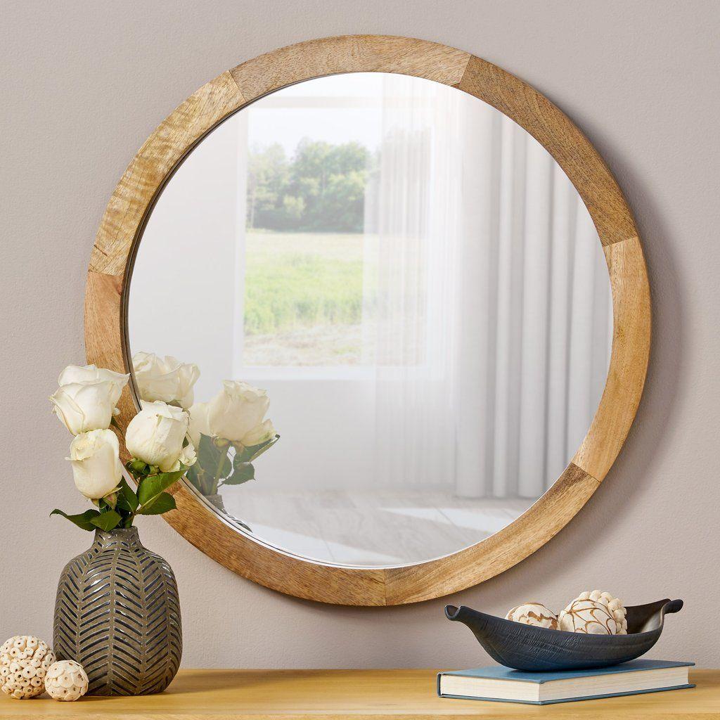 Heather Modern Round Mirror With Mango Wood Frame In 2020 Round Mirrors Modern Round Mango Wood