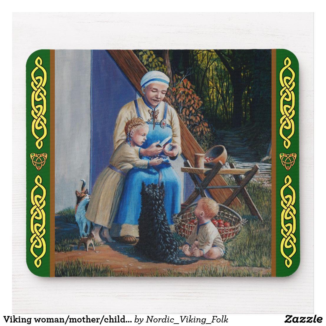 Viking Woman Mother Children Scottie Dog