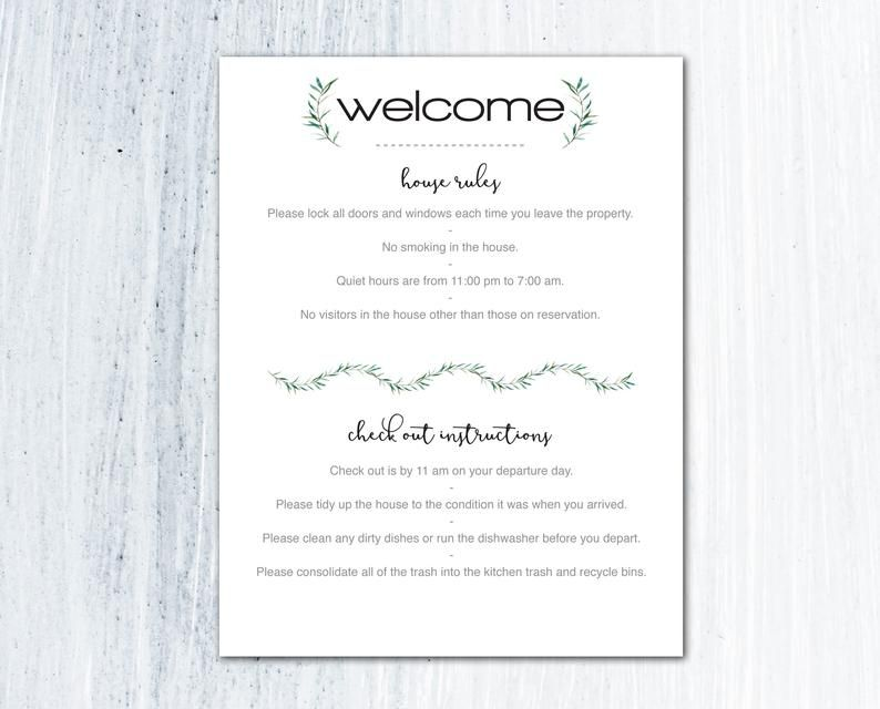Airbnb Printables Vacation Rental Airbnb Decor House ...