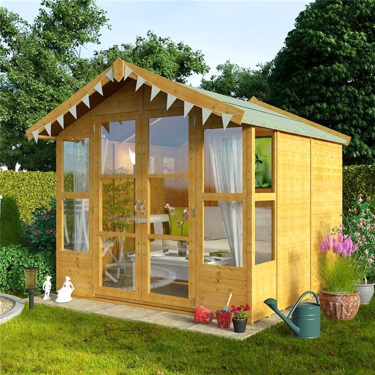 outdoor huge summer house log cabin building structure garden patio shed 7x7 - Garden Sheds 7x7