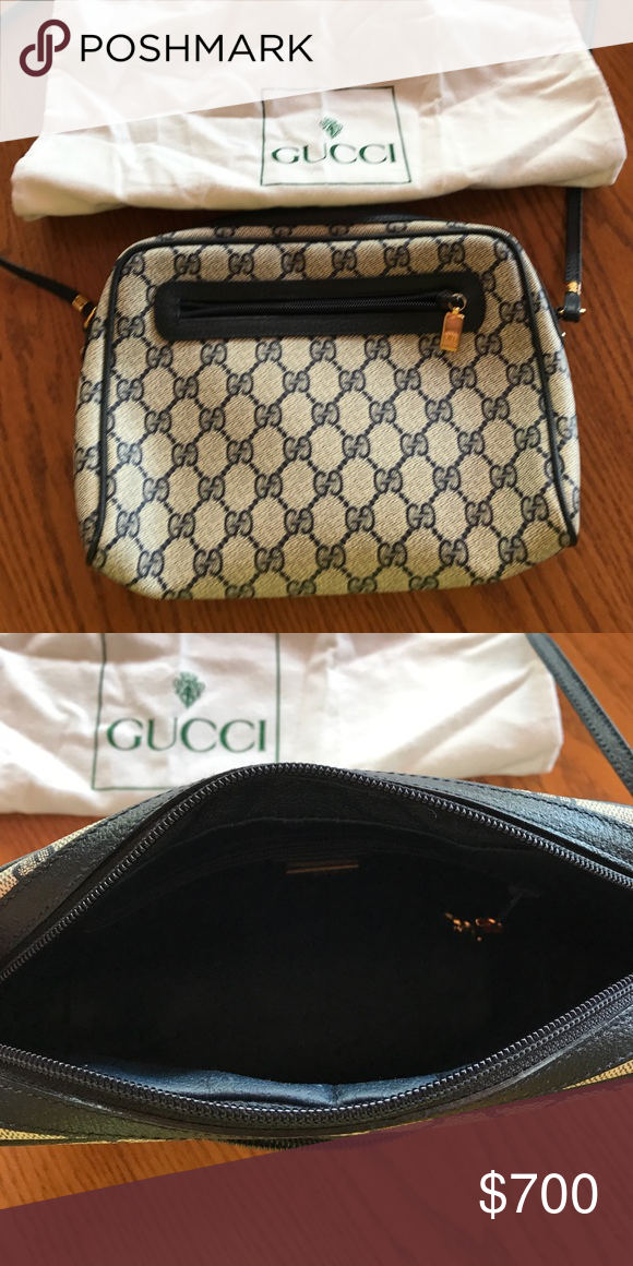 09445ae5682 With dust bag! Authentic Gucci! Navy blue grayish print! Authentic Serial  number can be seen in the pictures! Gucci Accessories