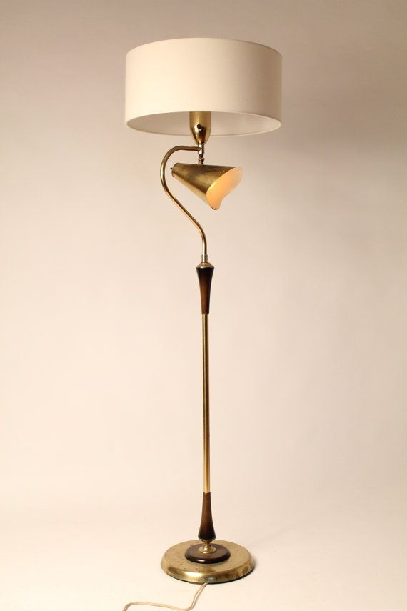 50s combo floor reading lamp brass plated wood vintage mid century 50s combo floor reading lamp brass plated wood vintage mid century 1950 era aloadofball Gallery
