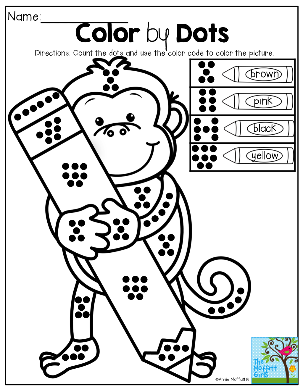 Color By Dots Great For Counting Number Sense And Color Word Recognition Tons Of Back To