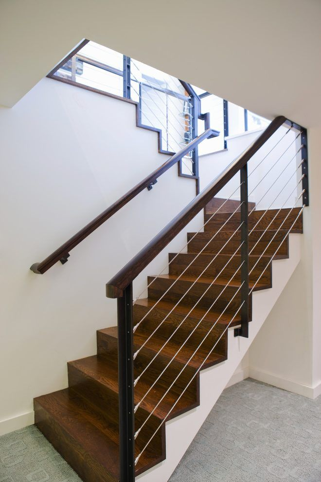 Railings For Stairs Staircase Modern With Wall Mount Railing Wall Mount Railing Interior Stairs Staircase Remodel Metal Stair Railing