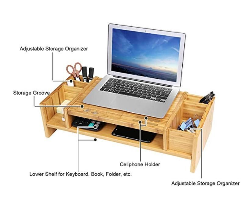 Bamboo 2-Tier Monitor Stand Riser with Adjustable