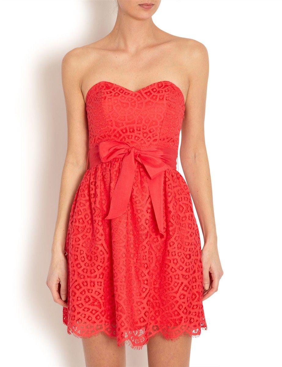 Robe rouge dentelle morgan