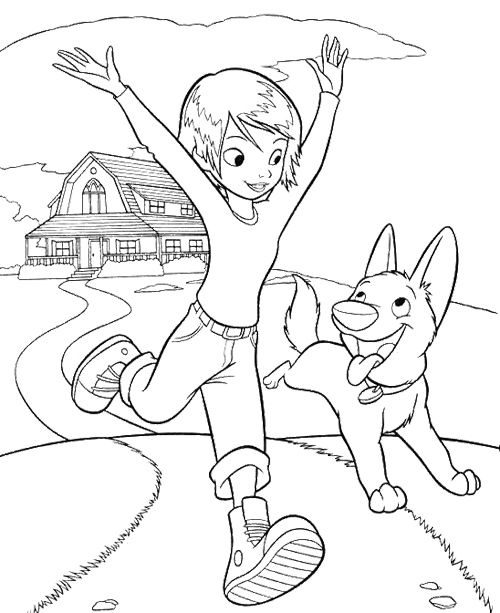 Bolt And Penny Running Coloring Page Cartoon Coloring Pages