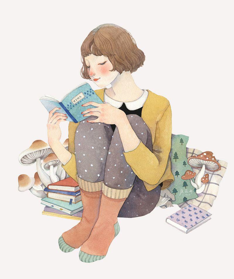 度薇年 的涂鸦王国作品《读书妞蜷在角落》 - 涂鸦王国插画   Girl reading book, Book illustration, Reading art