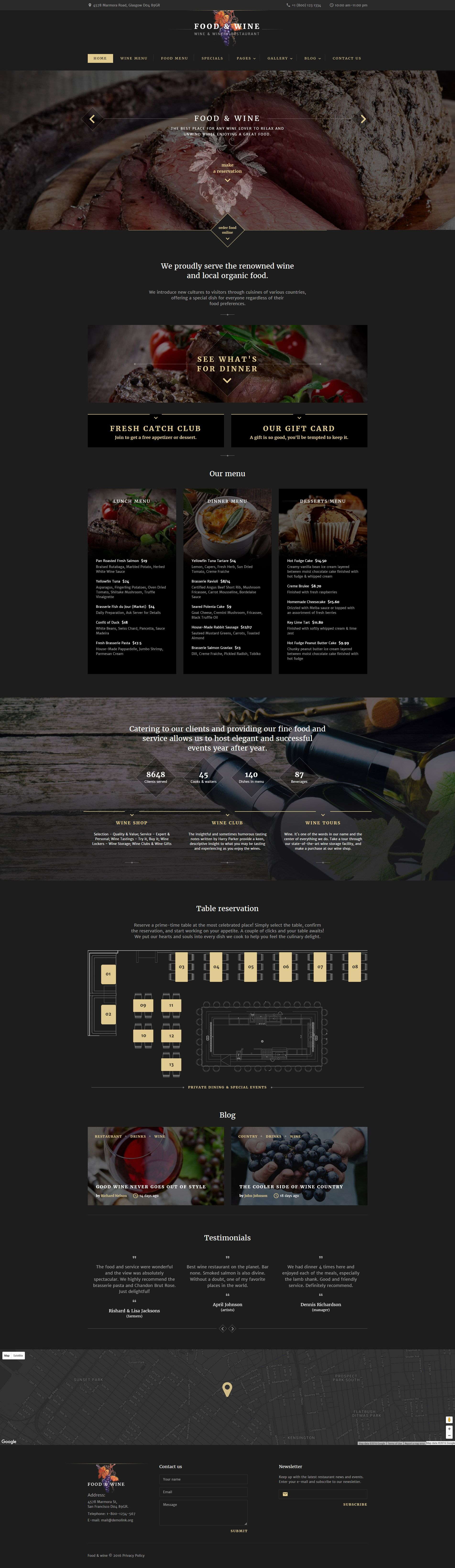 Food Wine Website Template | Template and Website themes