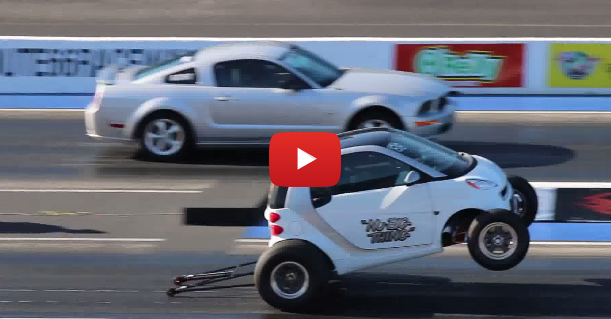 Souped Up Smart Car Smokes Mustang Gt In Drag Race Smart Car Car Mustang