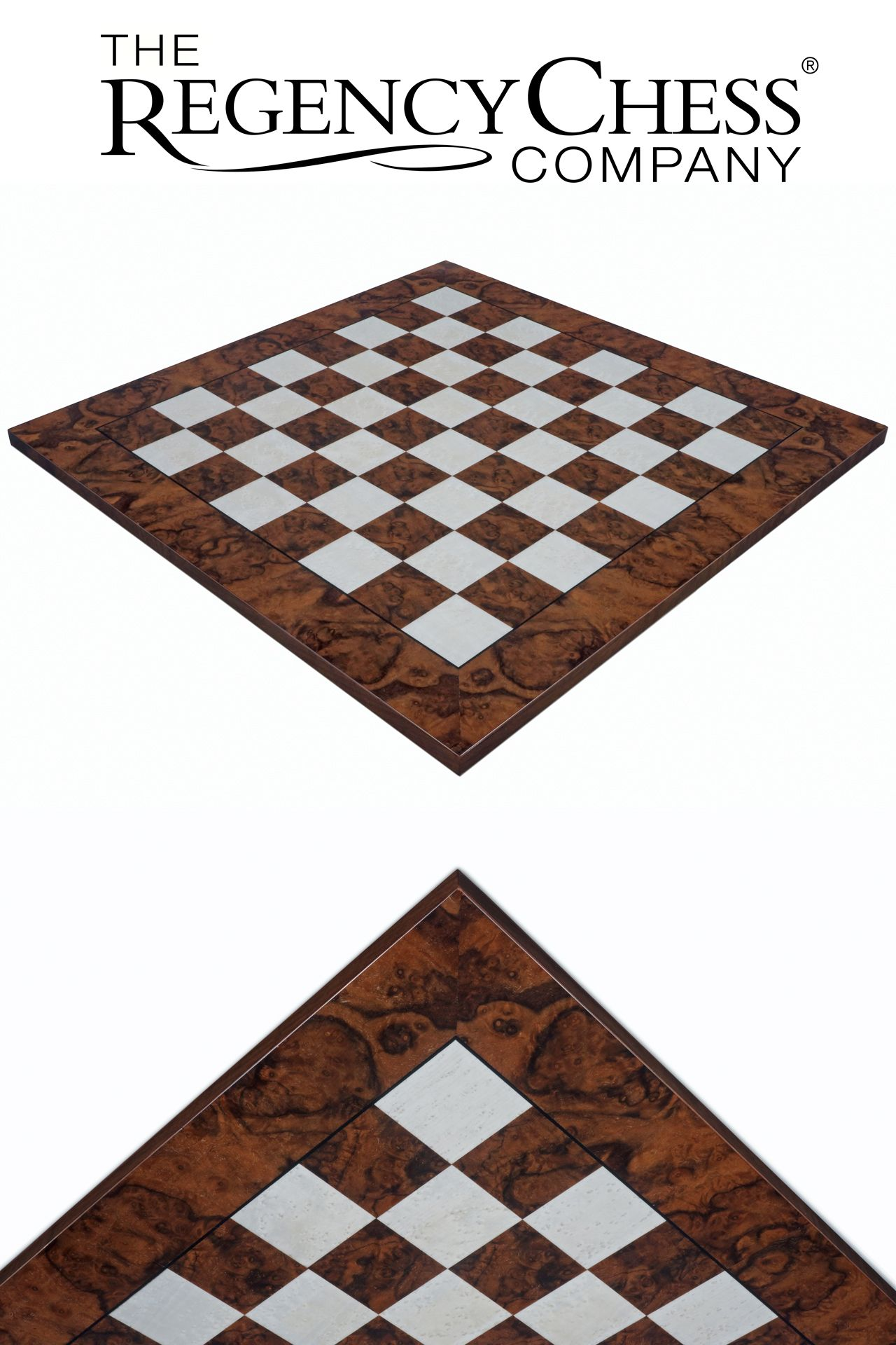 19.7 Inch Walnut and Maple Deluxe Chess Board