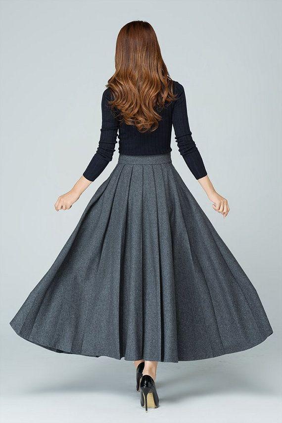 Maxi Wool skirt, maxi skirt, gray skirt, wool skirt, pleated skirt ... 9d20c8cd0b