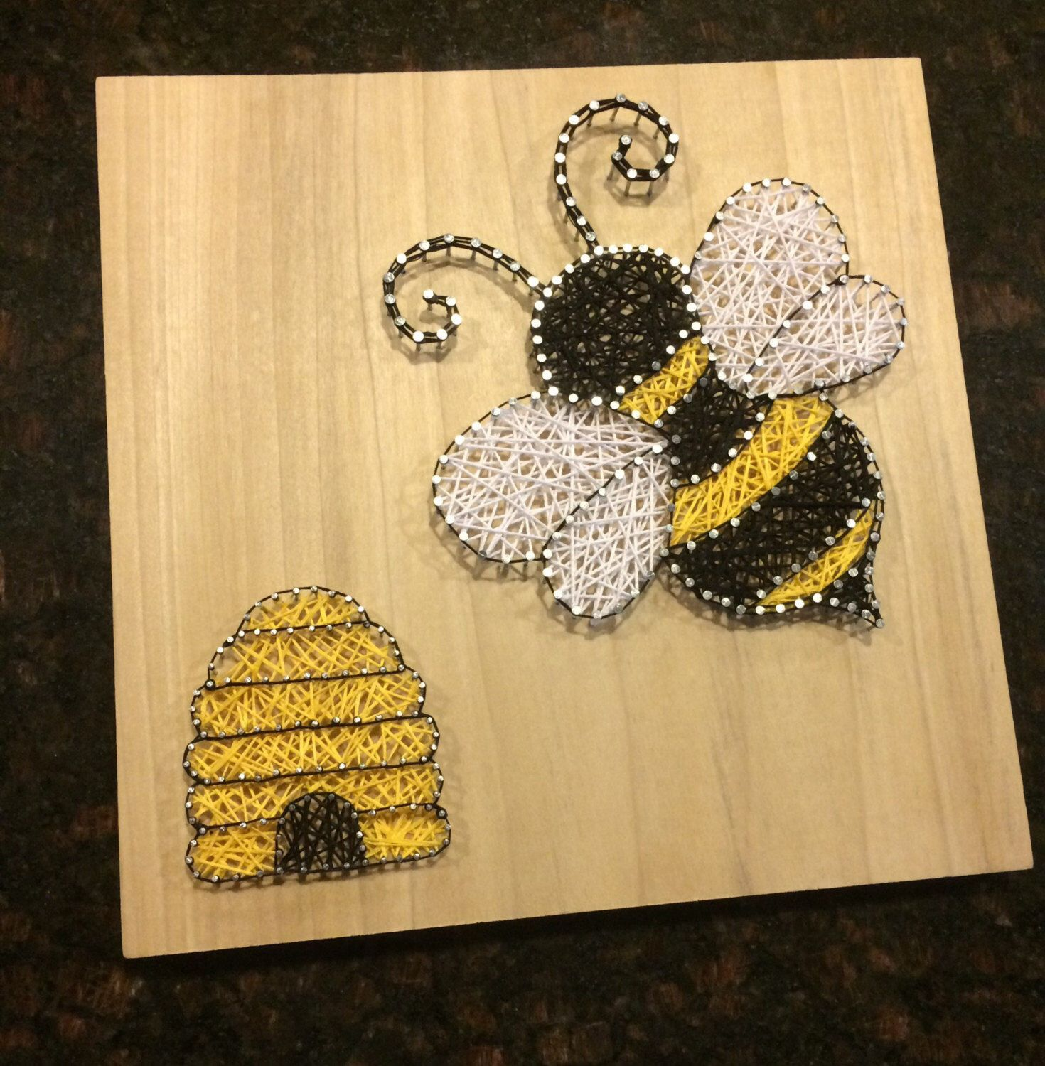 Bee and Bee Hive String Art, Wood, Bumble Bee and Beehive, Handmade ...