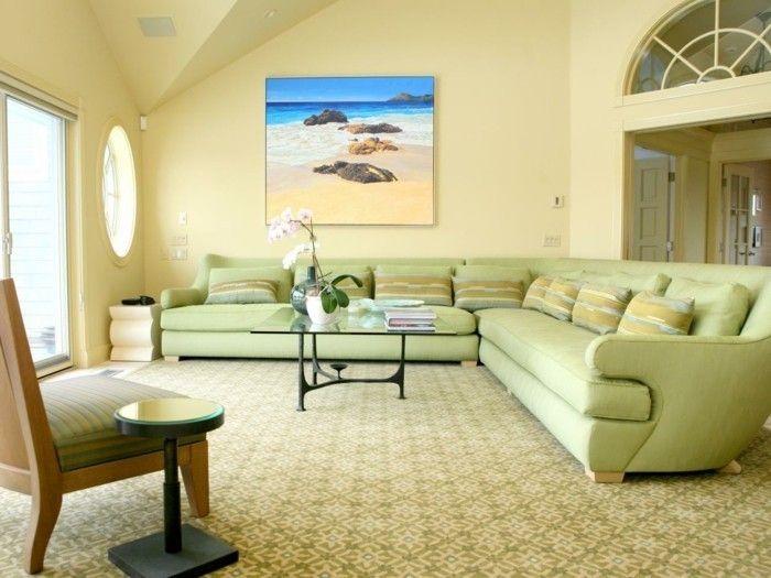 Home Furnishings Pale Yellow Walls Light Green Furniture