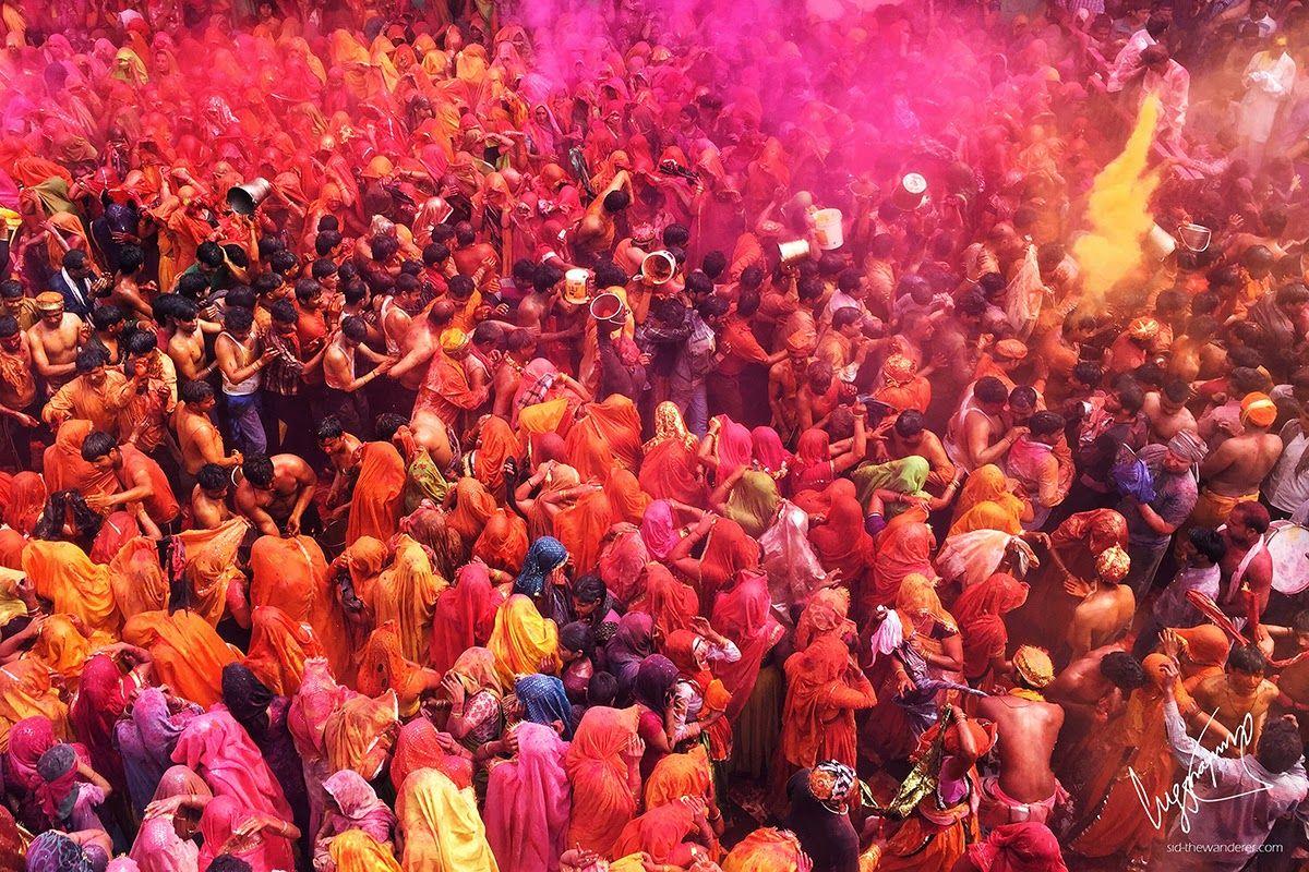 Group of people celebrating Holi