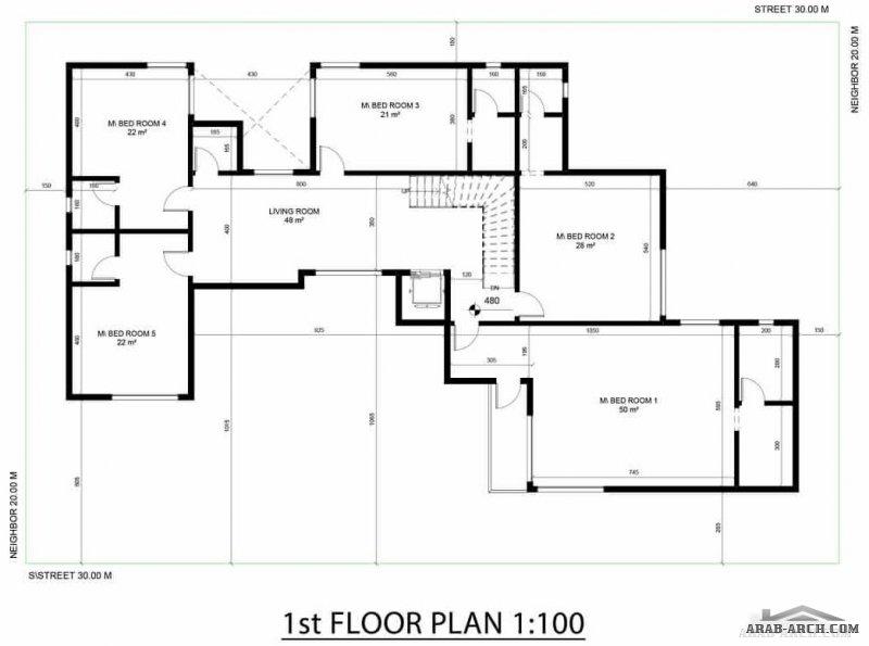 اجمل مجموعه فلل بالمساقط من مسكن العربية نموذج فيلا ٤ المغربية Model House Plan Square House Plans Family House Plans