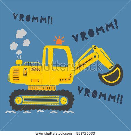 cute digger,excavator illustration vector