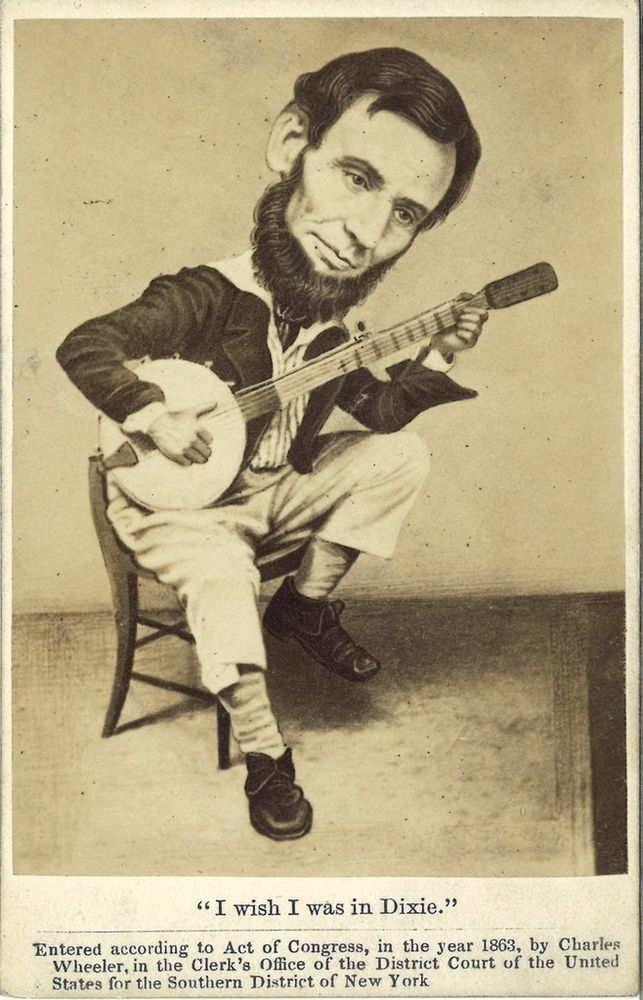 1863 Abraham Lincoln Political Cartoon Cdv Civil War Photo W Banjo
