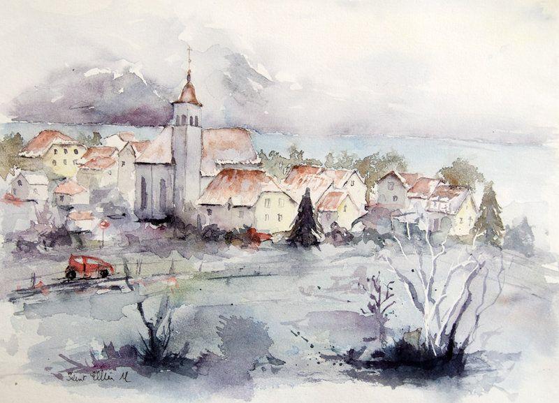 Grisaille D Hiver By Vogesen On Deviantart Aquarelle Peinture