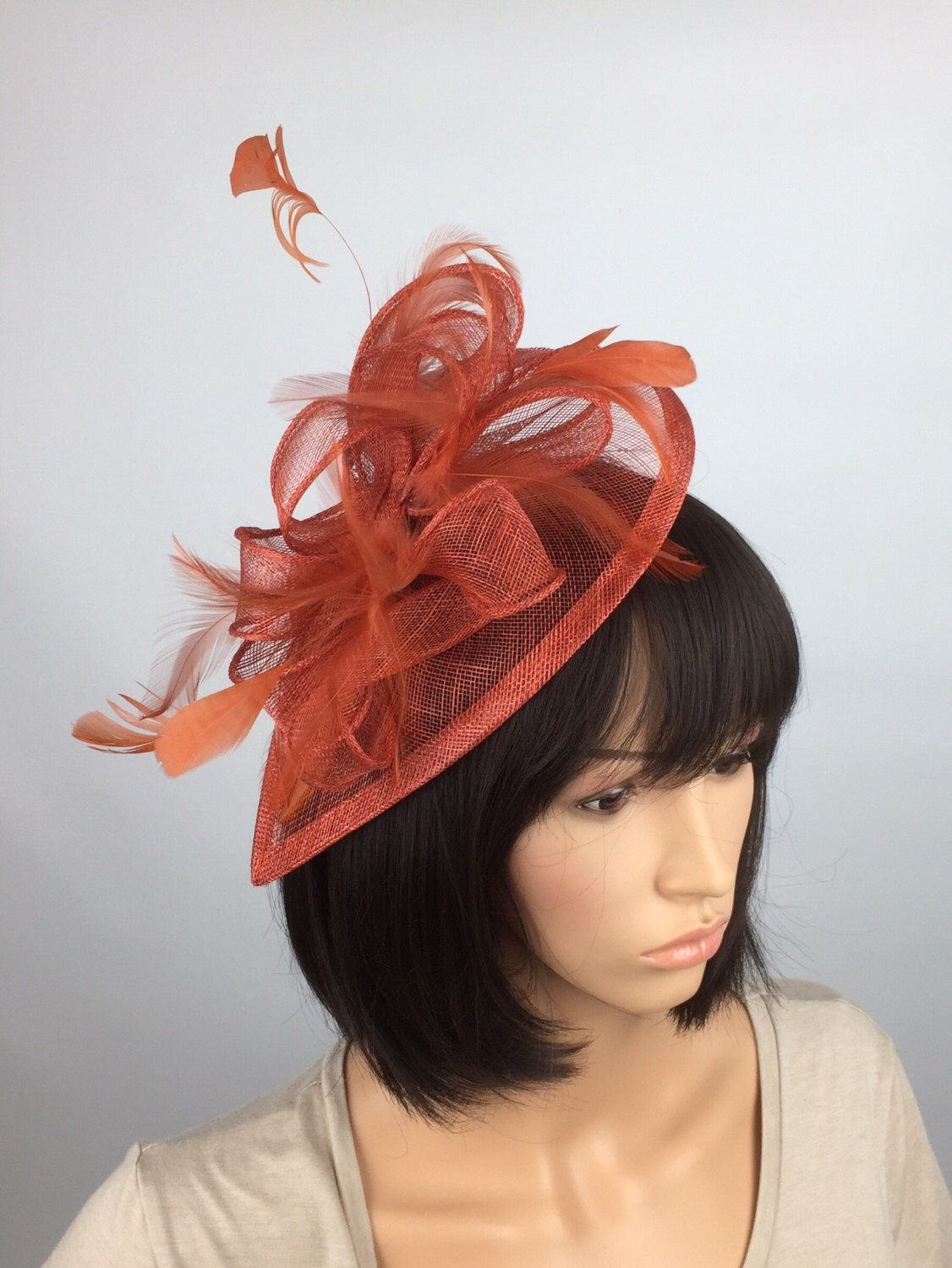 74f40e93bbb97  etsy shop  Rusty Burnt Orange Sinamay teardrop Fascinator on headband -  Wedding